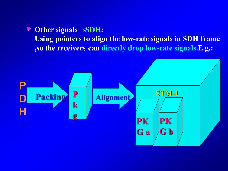 PDH Pkg Packing PKG a PKG b Other signals→SDH: