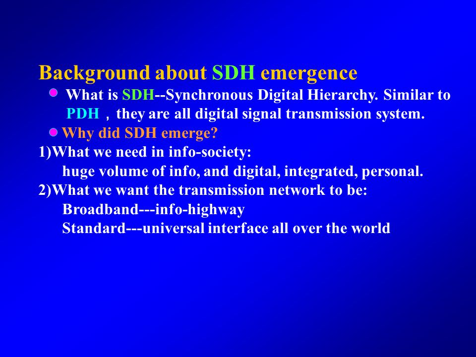 Background about SDH emergence