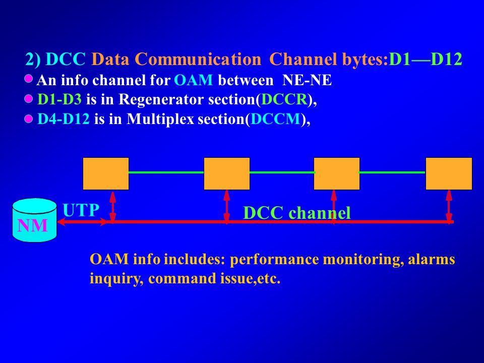 2) DCC Data Communication Channel bytes:D1—D12