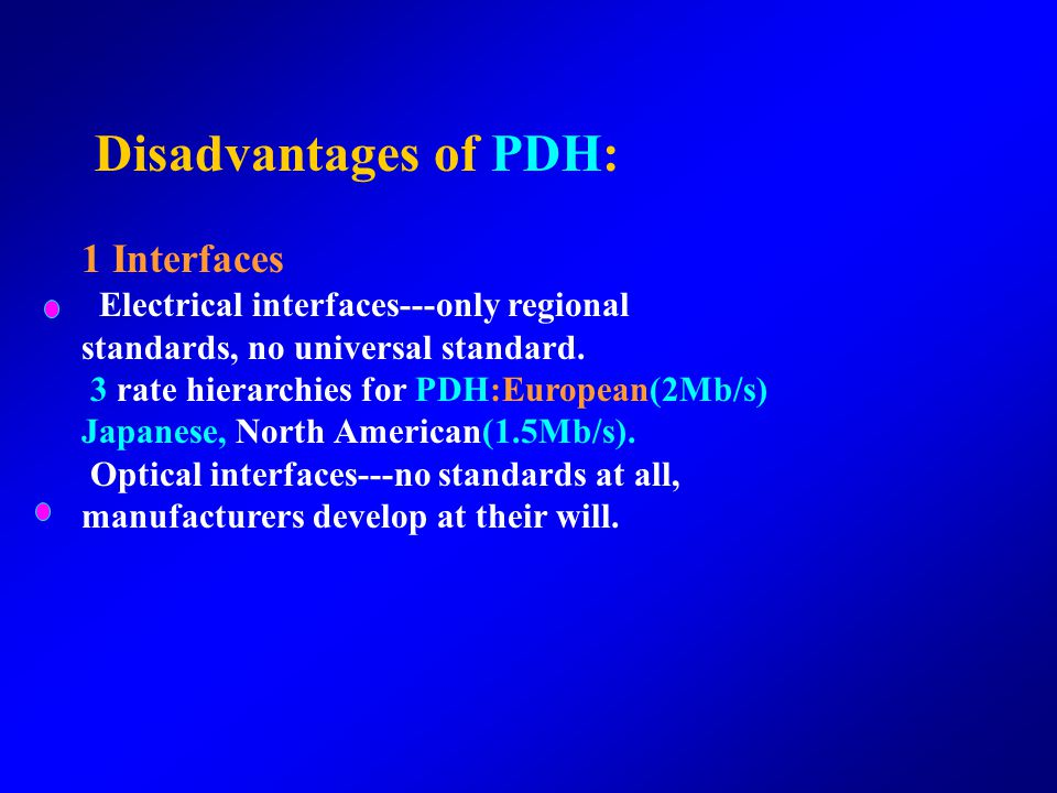 Disadvantages of PDH: 1 Interfaces