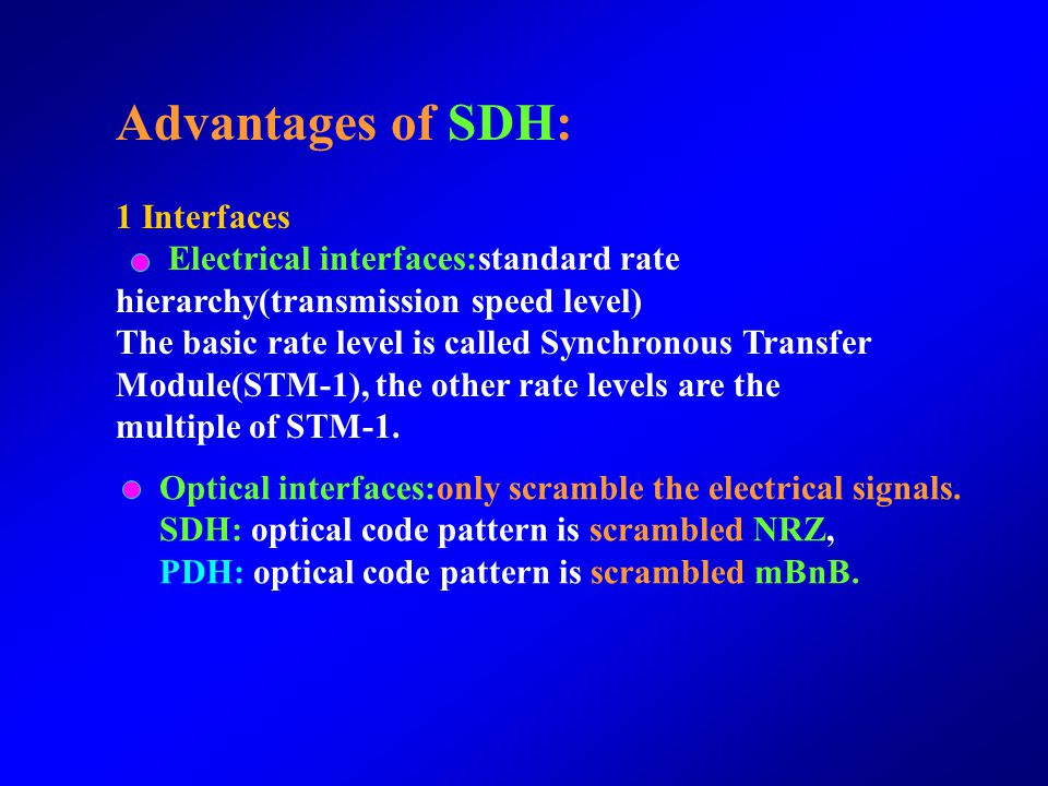 Advantages of SDH: 1 Interfaces
