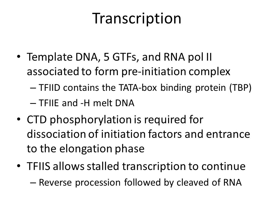 Transcription Template DNA, 5 GTFs, and RNA pol II associated to form pre-initiation complex. TFIID contains the TATA-box binding protein (TBP)