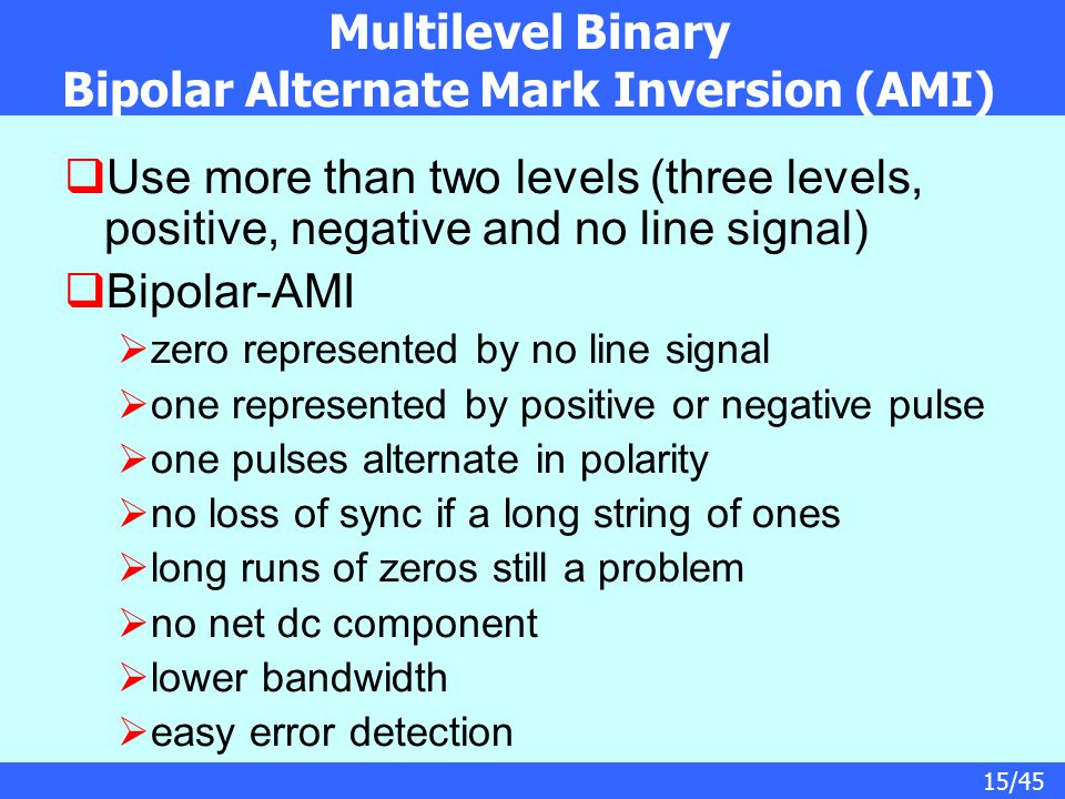 Multilevel Binary Bipolar Alternate Mark Inversion (AMI)