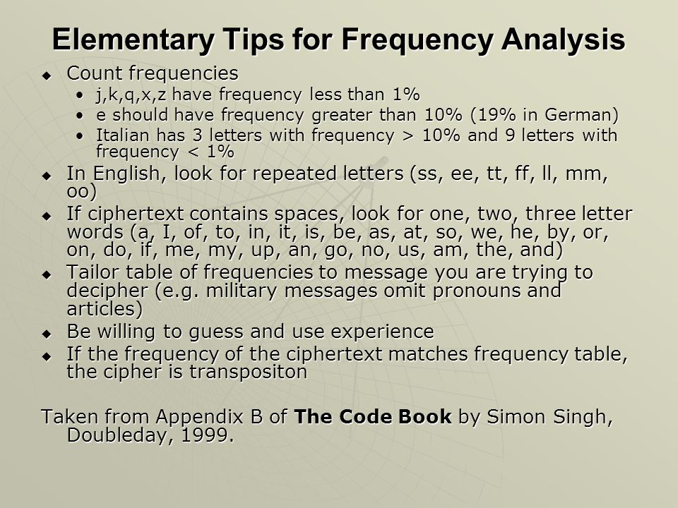Elementary Tips for Frequency Analysis