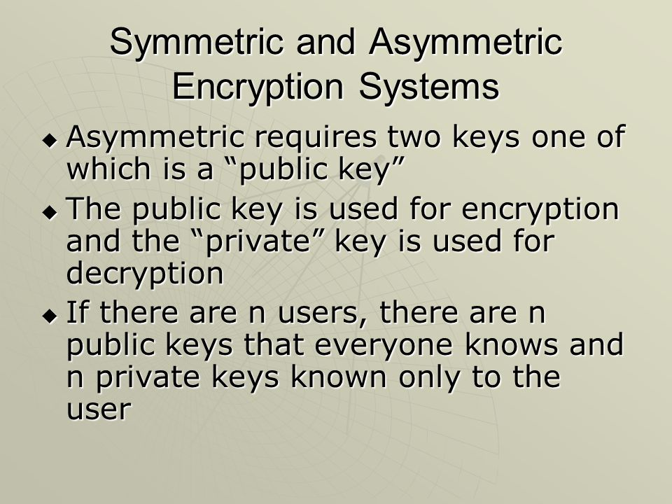 Symmetric and Asymmetric Encryption Systems