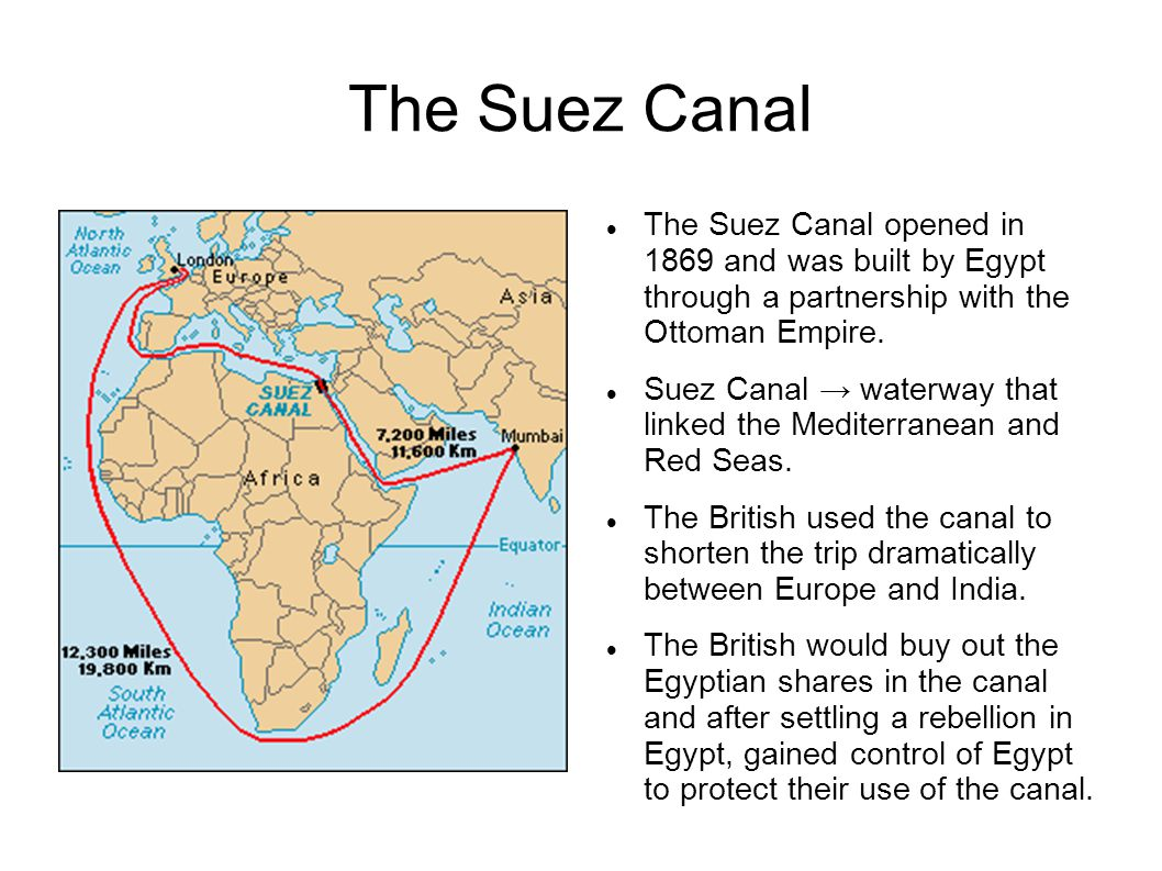 The Suez Canal The Suez Canal opened in 1869 and was built by Egypt through a partnership with the Ottoman Empire.