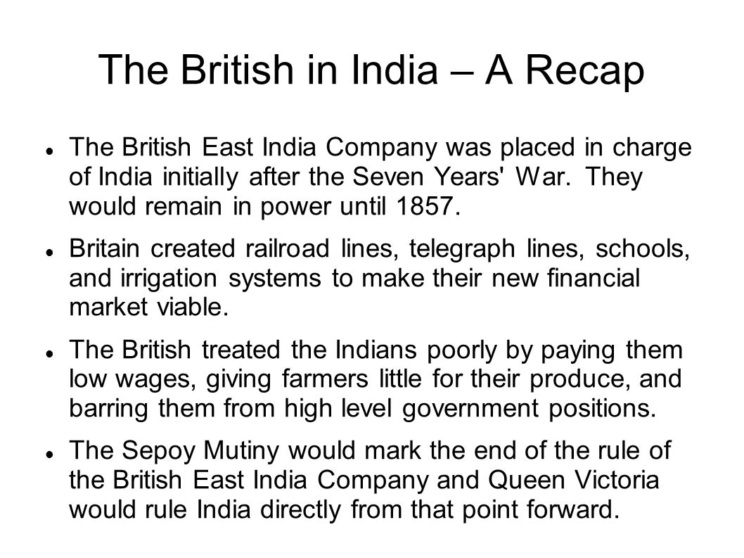 The British in India – A Recap