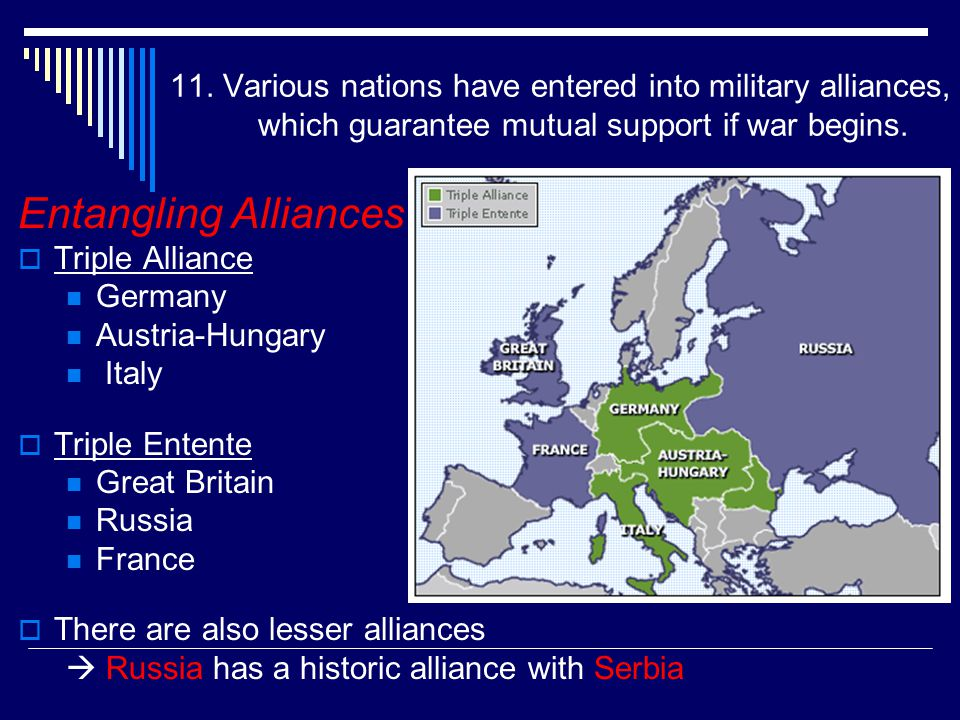 11. Various nations have entered into military alliances, which guarantee mutual support if war begins.
