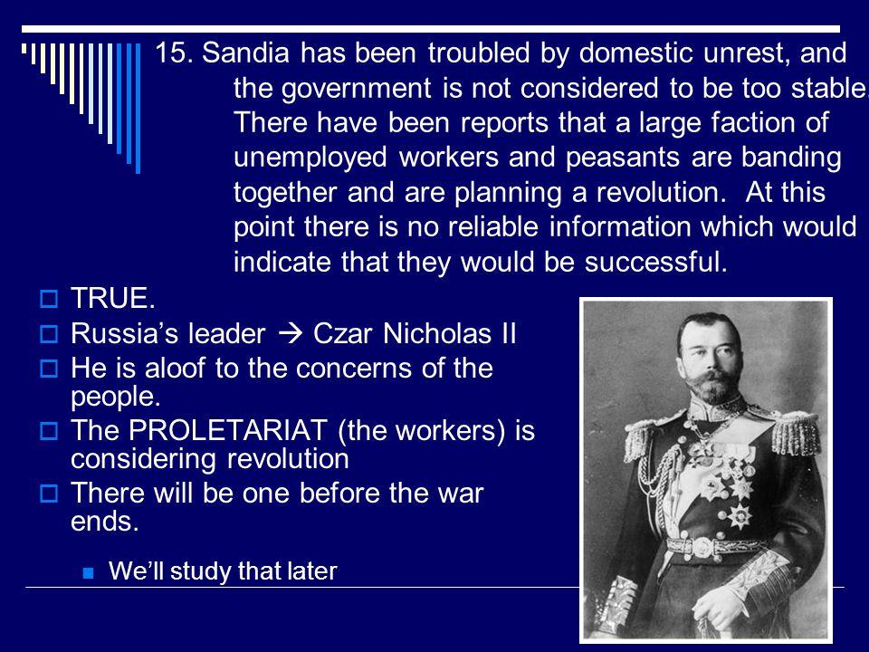 Russia's leader  Czar Nicholas II