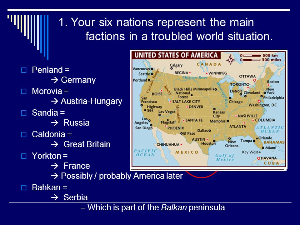 1. Your six nations represent the main factions in a troubled world situation.