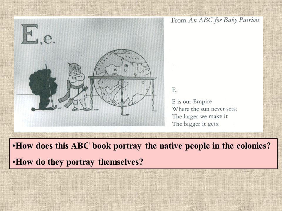 How does this ABC book portray the native people in the colonies