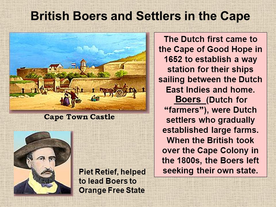 British Boers and Settlers in the Cape