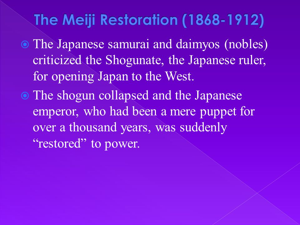 The Meiji Restoration (1868-1912)