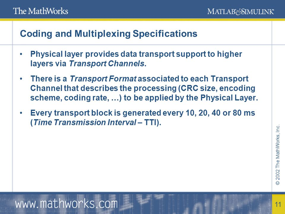 Coding and Multiplexing Specifications