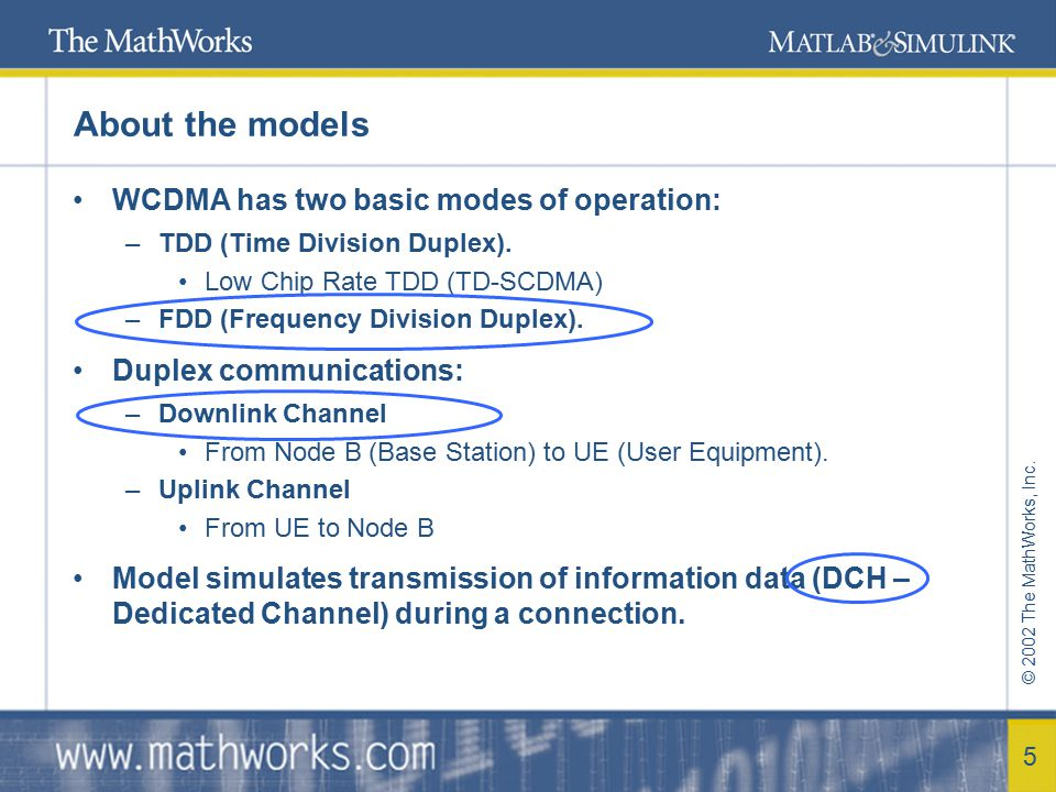 About the models WCDMA has two basic modes of operation: