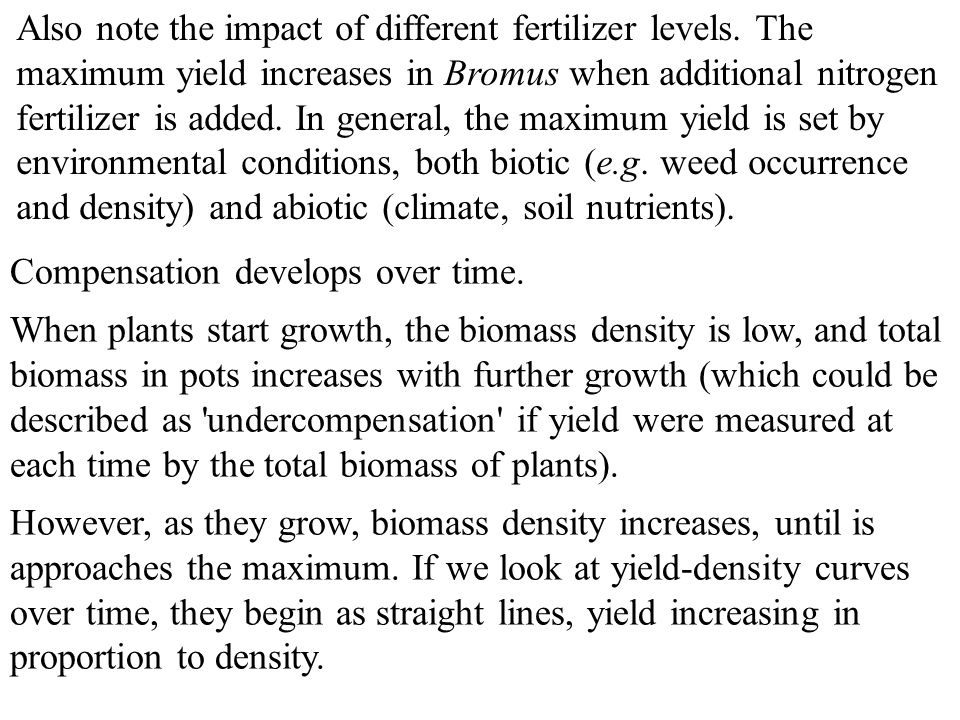 Also note the impact of different fertilizer levels