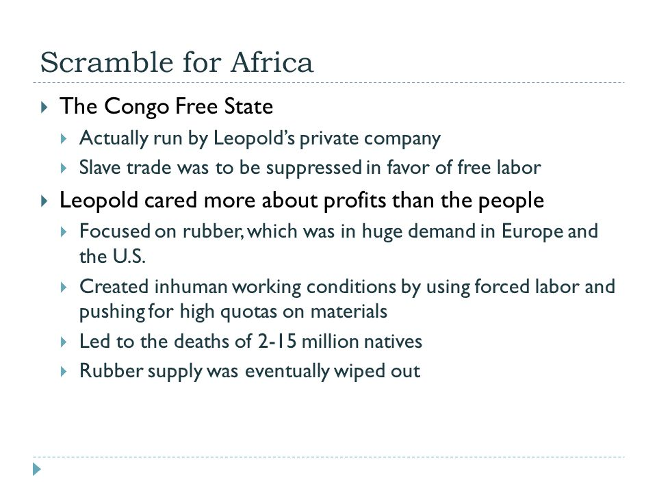 Scramble for Africa The Congo Free State