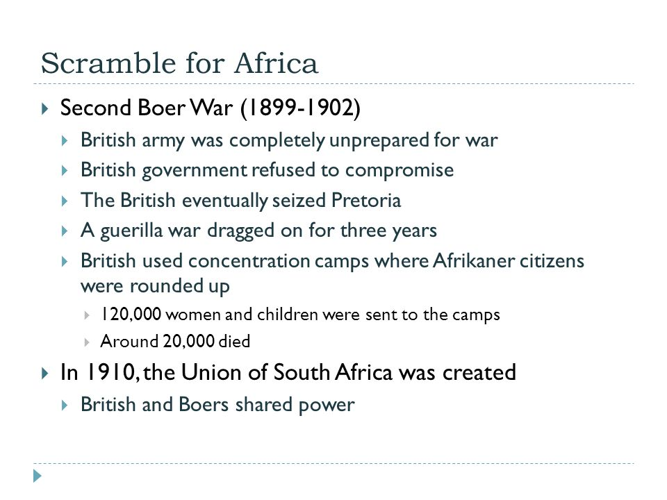 Scramble for Africa Second Boer War (1899-1902)