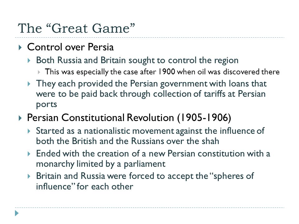 The Great Game Control over Persia