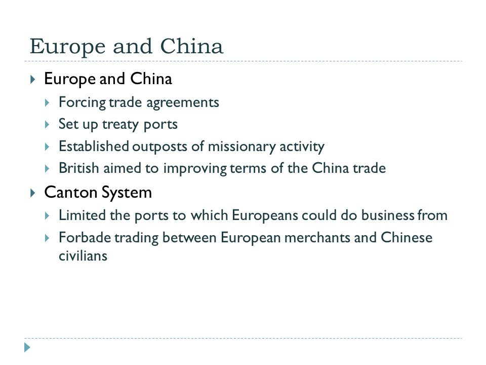 Europe and China Europe and China Canton System