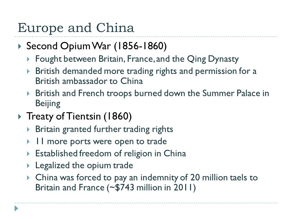Europe and China Second Opium War (1856-1860)
