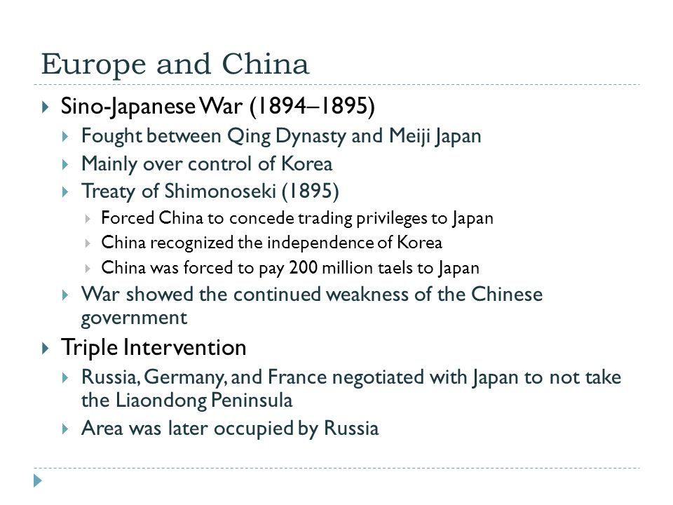 Europe and China Sino-Japanese War (1894–1895) Triple Intervention
