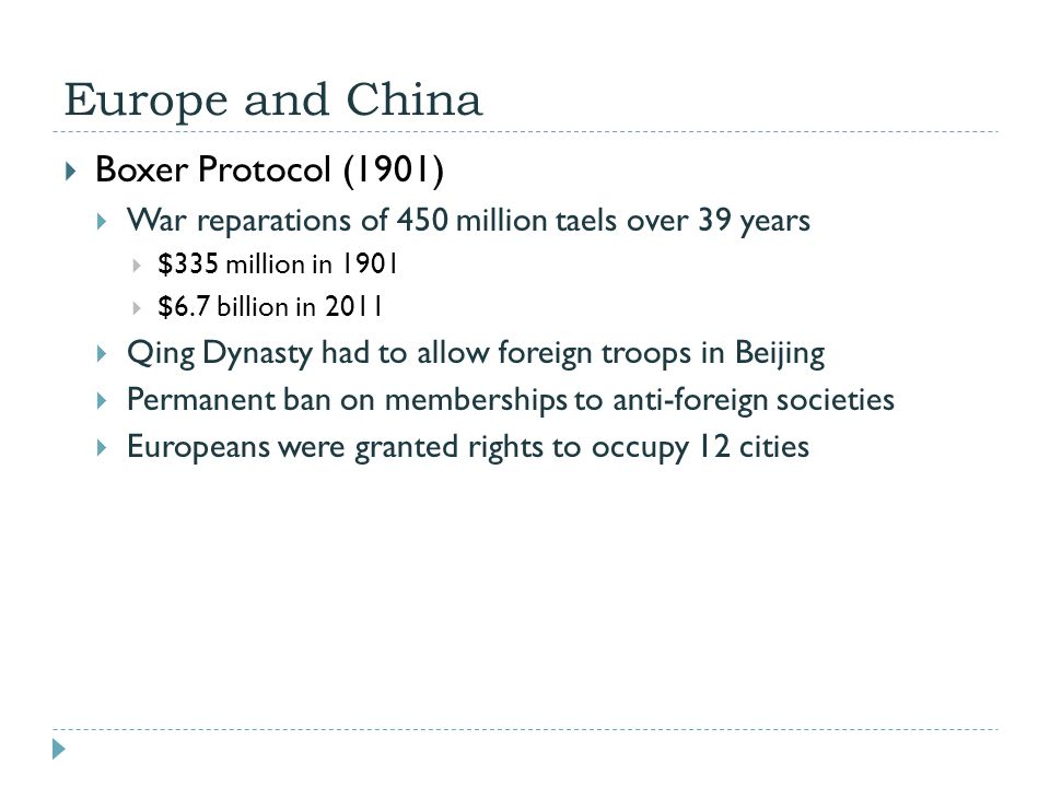 Europe and China Boxer Protocol (1901)