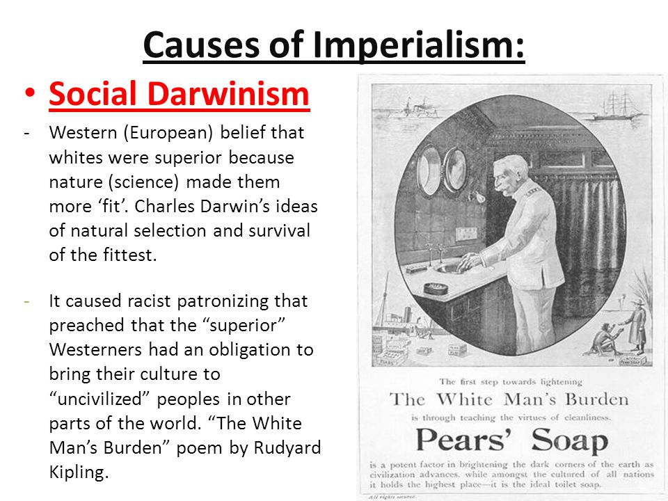 """causes of western imperialism Movement from mercantilism to imperialism = deeper control  belief that  western civilization (europeans and the us) was far superior (better) to all other  civilizations """"the  how did great britain's need for resources cause the opium  war."""