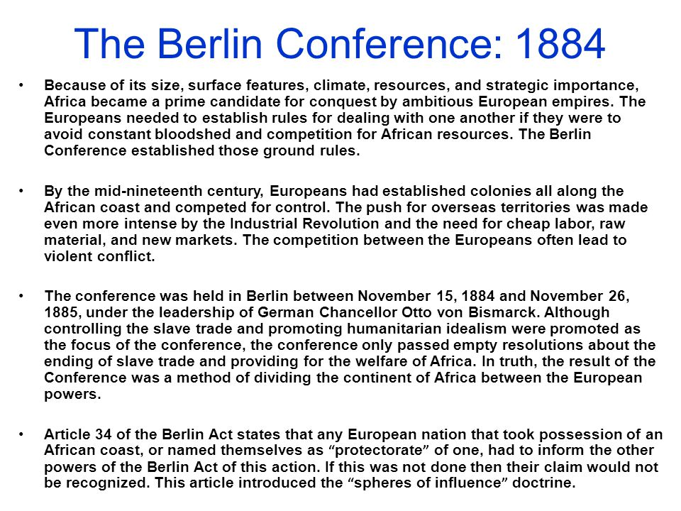 The Berlin Conference: 1884