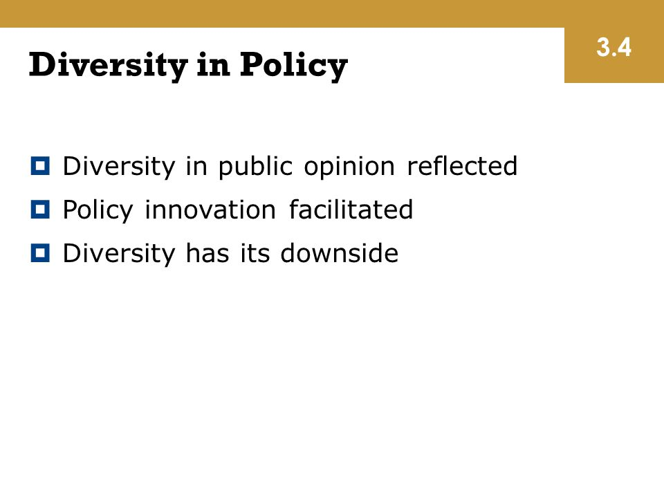 Diversity in Policy 3.4 Diversity in public opinion reflected