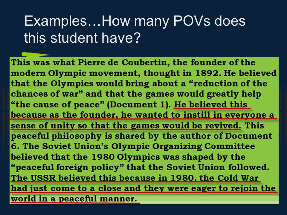 Examples…How many POVs does this student have