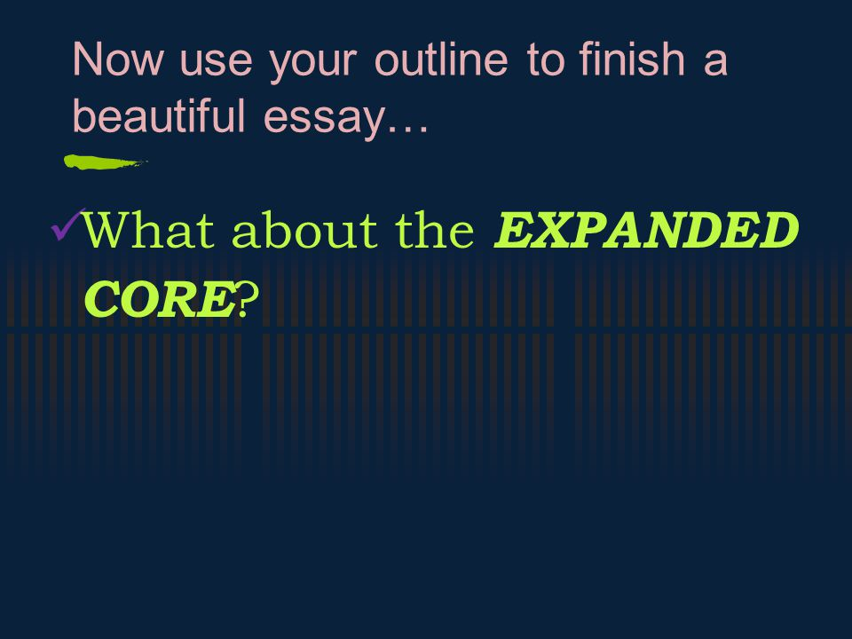 Now use your outline to finish a beautiful essay…