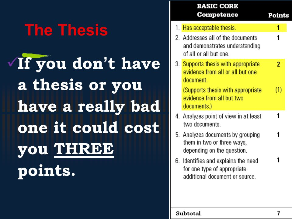 The Thesis If you don't have a thesis or you have a really bad one it could cost you THREE points.