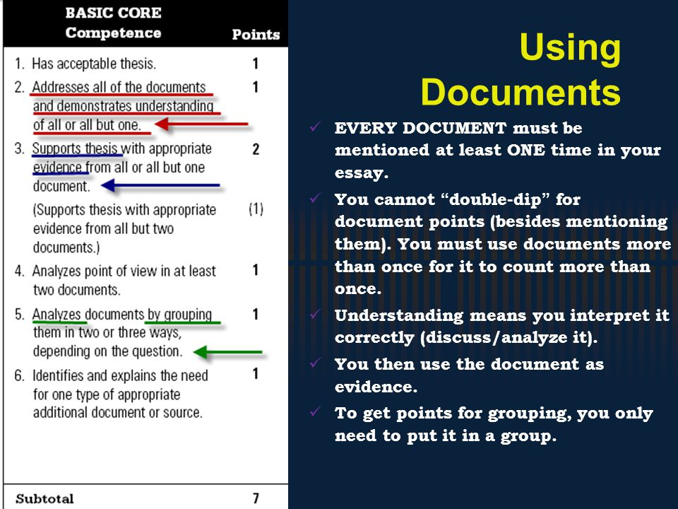 Using Documents EVERY DOCUMENT must be mentioned at least ONE time in your essay.