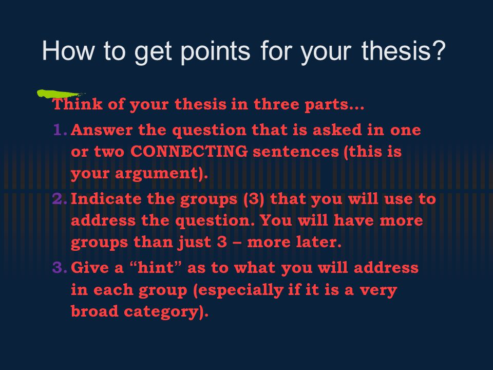How to get points for your thesis