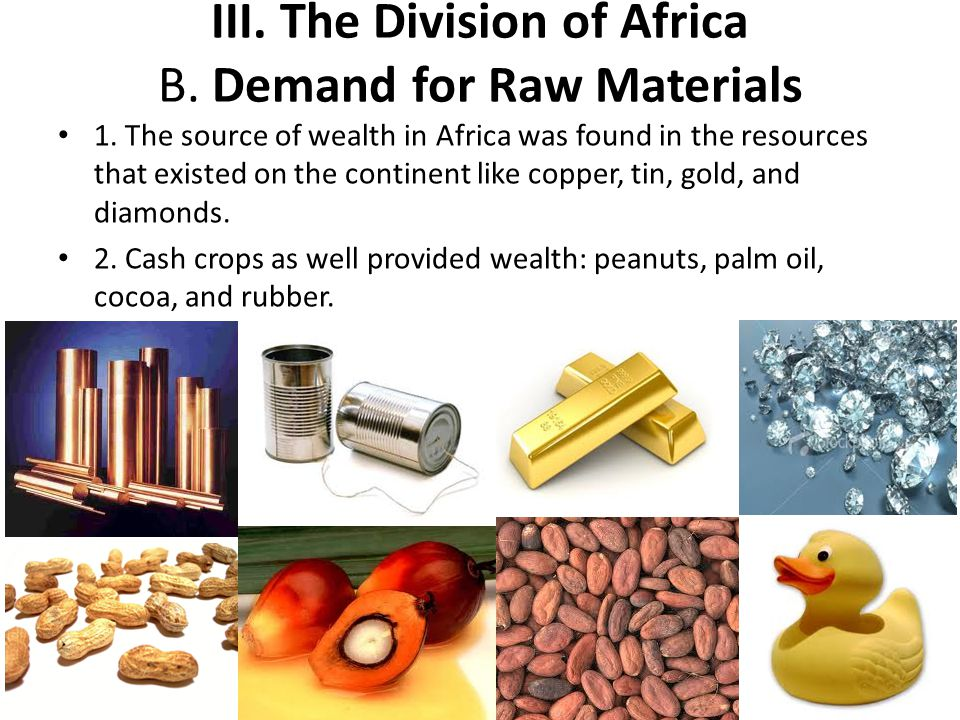 III. The Division of Africa B. Demand for Raw Materials