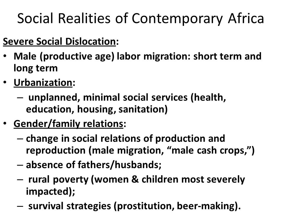 Social Realities of Contemporary Africa