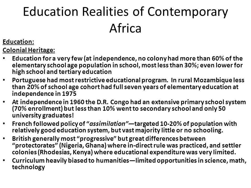 Education Realities of Contemporary Africa