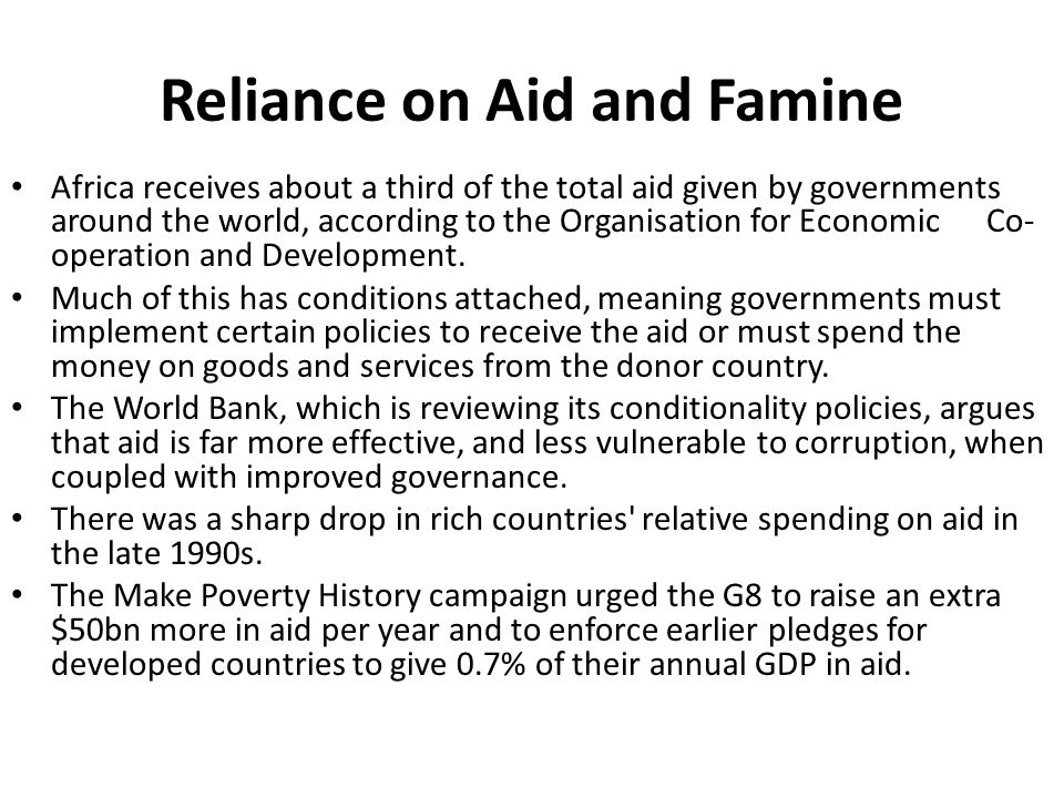 Reliance on Aid and Famine