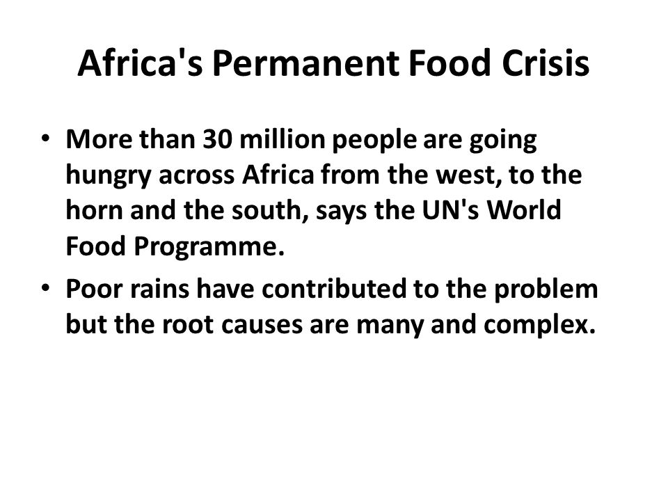 Africa s Permanent Food Crisis