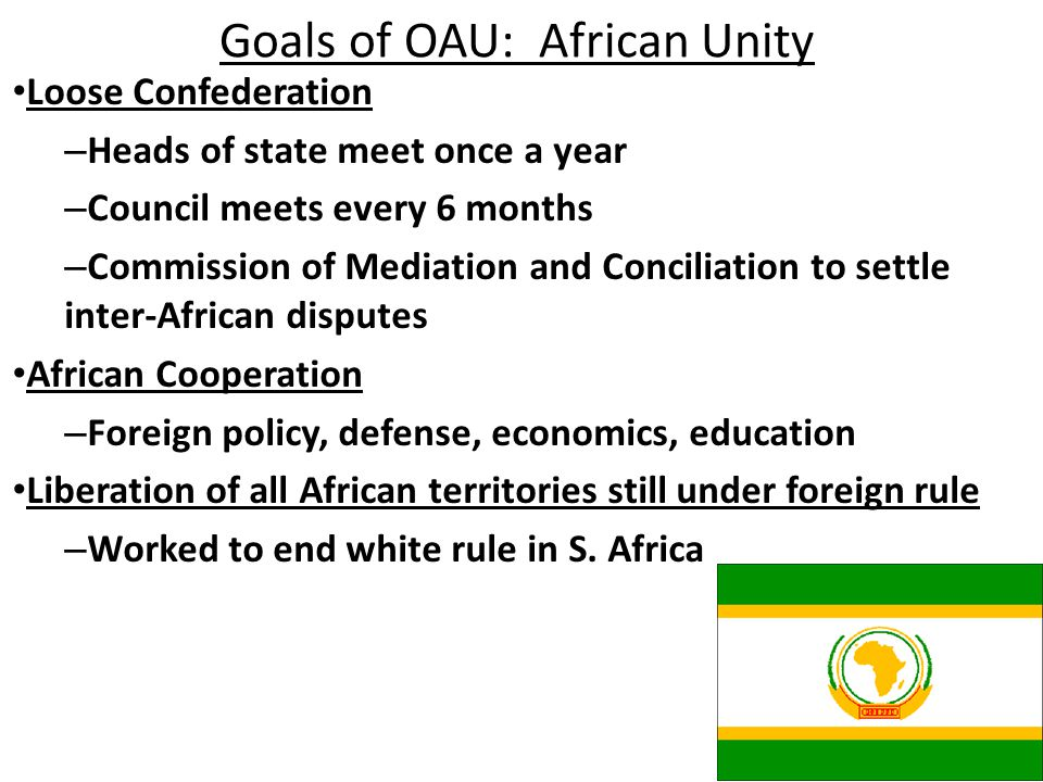 Goals of OAU: African Unity