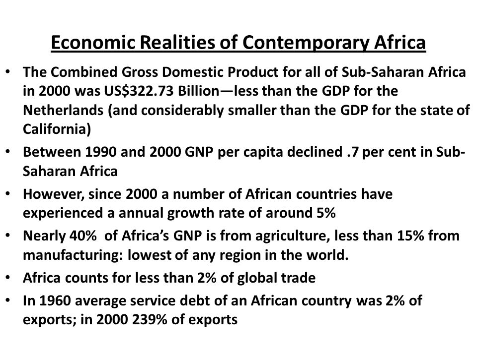 Economic Realities of Contemporary Africa