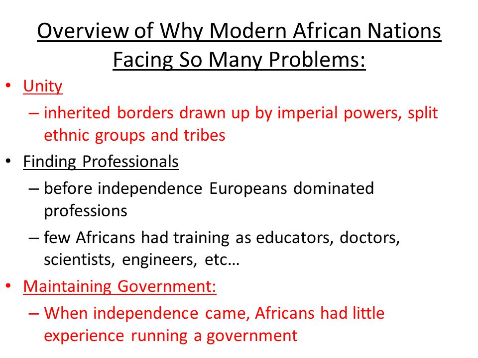 Overview of Why Modern African Nations Facing So Many Problems: