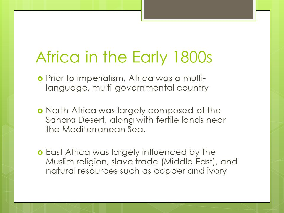 Africa in the Early 1800s Prior to imperialism, Africa was a multi-language, multi-governmental country.