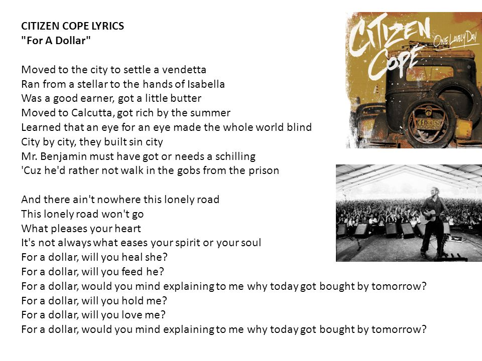 CITIZEN COPE LYRICS