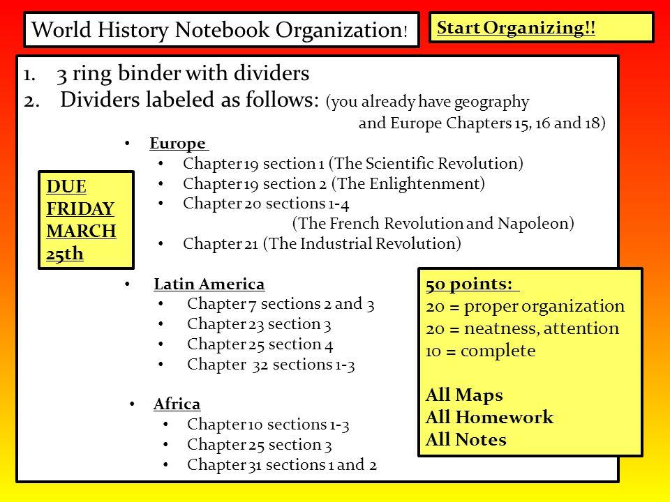 World History Notebook Organization!