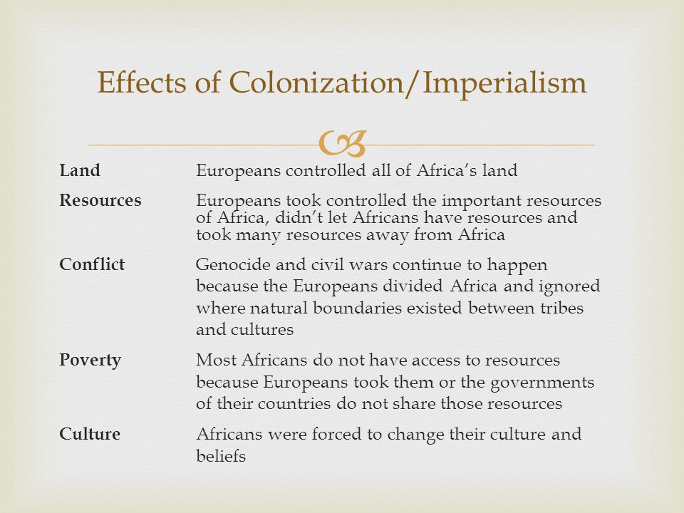 Effects of Colonization/Imperialism