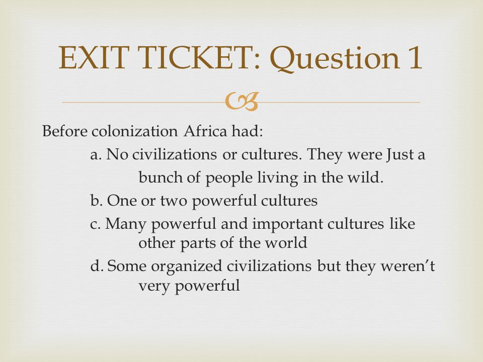 EXIT TICKET: Question 1