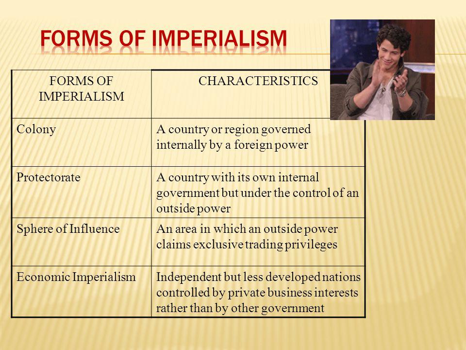 Forms of Imperialism FORMS OF IMPERIALISM CHARACTERISTICS Colony