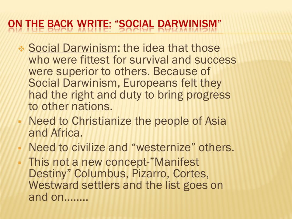 On the Back Write: Social Darwinism